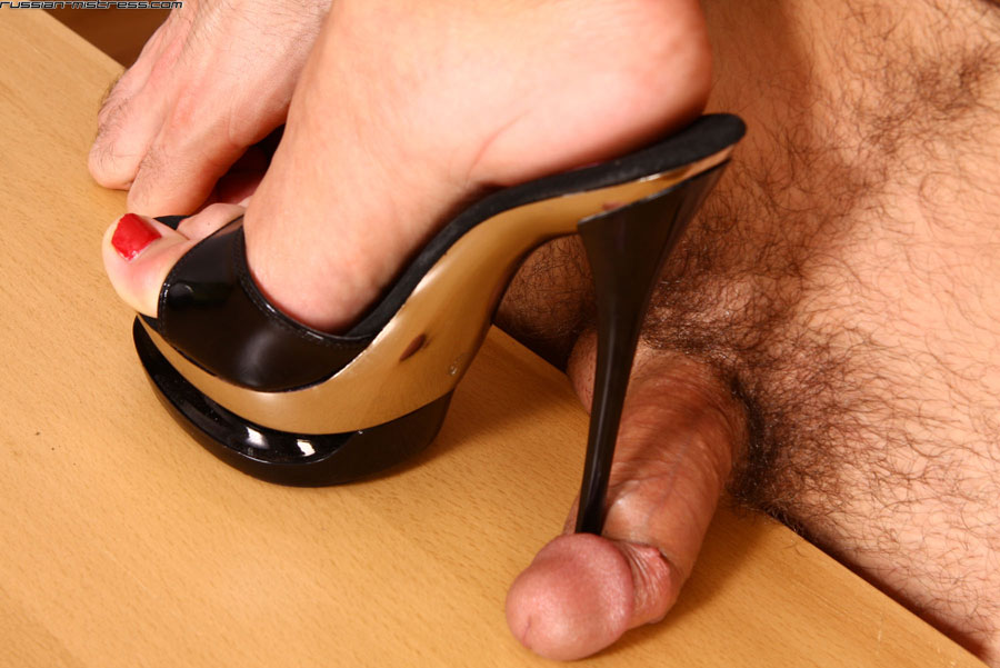 High heel cock trample